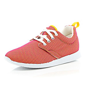 Orange spotty mesh trainers