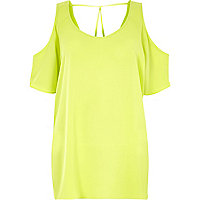 Lime cold shoulder t-shirt