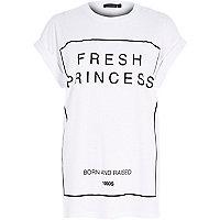 White fresh princess print oversized t-shirt