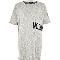 Grey modern pocket print oversized t-shirt