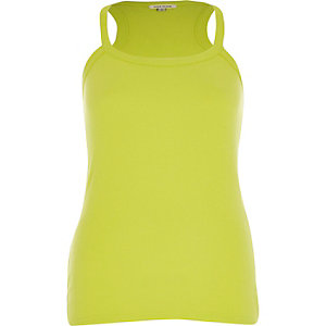 Lime ribbed racer back vest