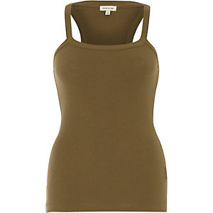 Khaki ribbed racer back vest