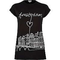 Black Amsterdam print fitted t-shirt