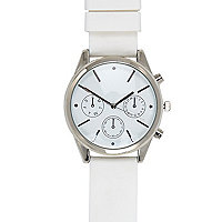 White flat clean three dial watch