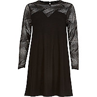 Black mesh sleeve swing dress