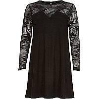 Black mesh sleeve swing dress