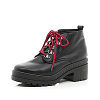 Black statement lace hiker boots