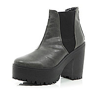 Grey chunky platform Chelsea boots