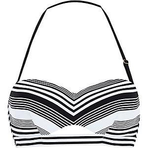 Black striped balconette bikini top