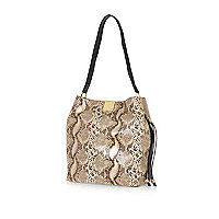Cream snake print suede slouchy bucket bag