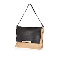Beige black suede and leather shoulder bag