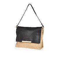 Beige black suede and leather shoulder bag