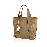 Khaki leather croc panel tote bag