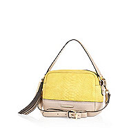 Yellow leather snake print cross body bag