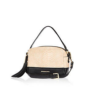 Beige snake print suede cross body handbag