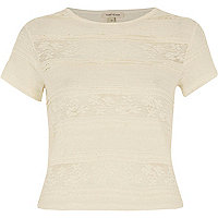 Cream lace ruffle short sleeve top