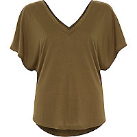 Khaki short sleeve V front t-shirt