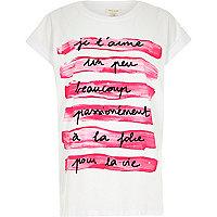 White j'taime pink print oversized t-shirt