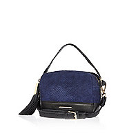 Navy leather snake print suede cross body bag