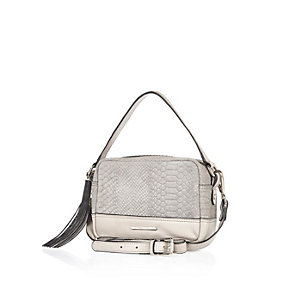 Grey snake print suede cross body handbag
