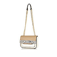 Cream embellished cross body bag