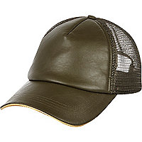 Khaki leather-look mesh cap
