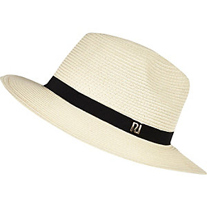 Cream straw fedora hat
