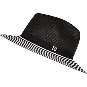 Black monochrome stripe straw fedora hat