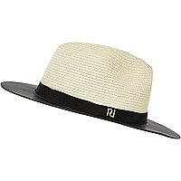 Cream contrast leather-look brim straw fedora