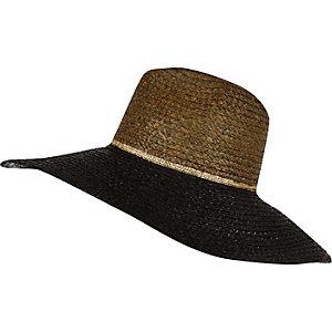 Black oversized straw fedora hat