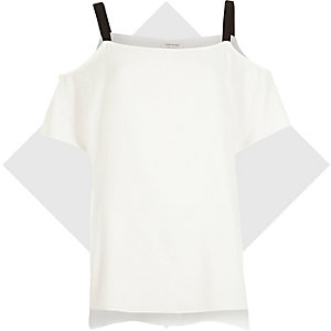 White cold shoulder strappy top
