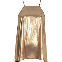 Gold metallic spaghetti strap top