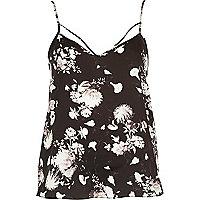 Black floral print strappy cami