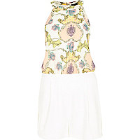 White paisley print playsuit