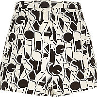 White alphabet print high waisted shorts