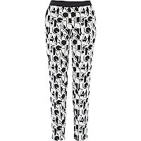 White high waisted alphabet jacquard trousers