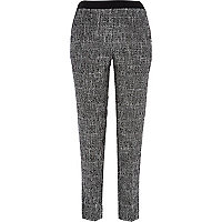 Black tweed check cigarette pants