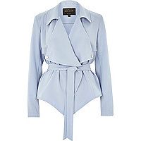 Blue cropped drape trench jacket