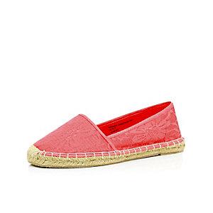 Pink lace espadrilles
