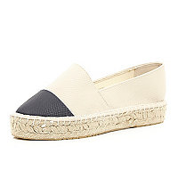Cream black toe flatform espadrilles