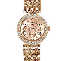 Rose gold tone chunky diamante watch