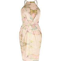 Pink print cami bodycon dress