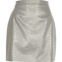 Silver leather-look mock croc mini skirt