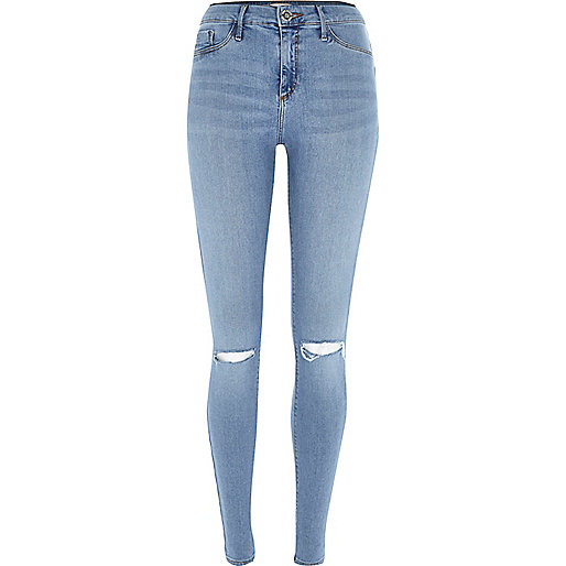 Molly - Zerrissene blaue Jeggings in Hellblau