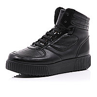 Black chunky hi-top flatforms
