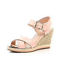 Coral cross strap raffia heel wedge