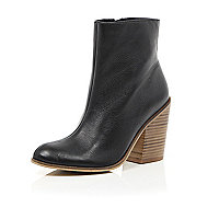 Black leather stacked heel boots