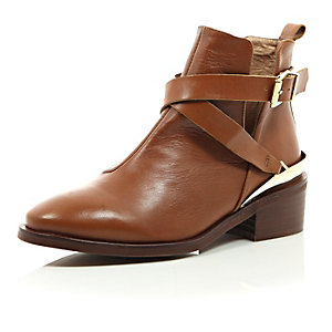 Brown leather low heeled cut out ankle boots