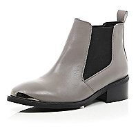 Grey leather low heeled boots