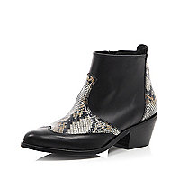 Black leather snake print heeled Western boot